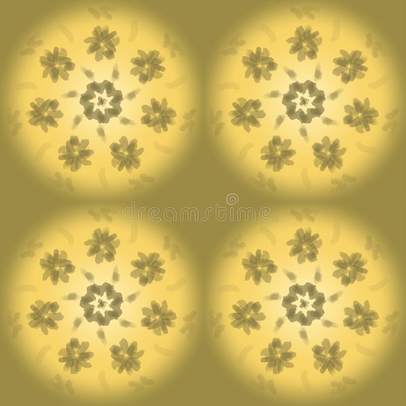 Seamless simple pattern of yellow golden balls with a circle of flowers vector illustration