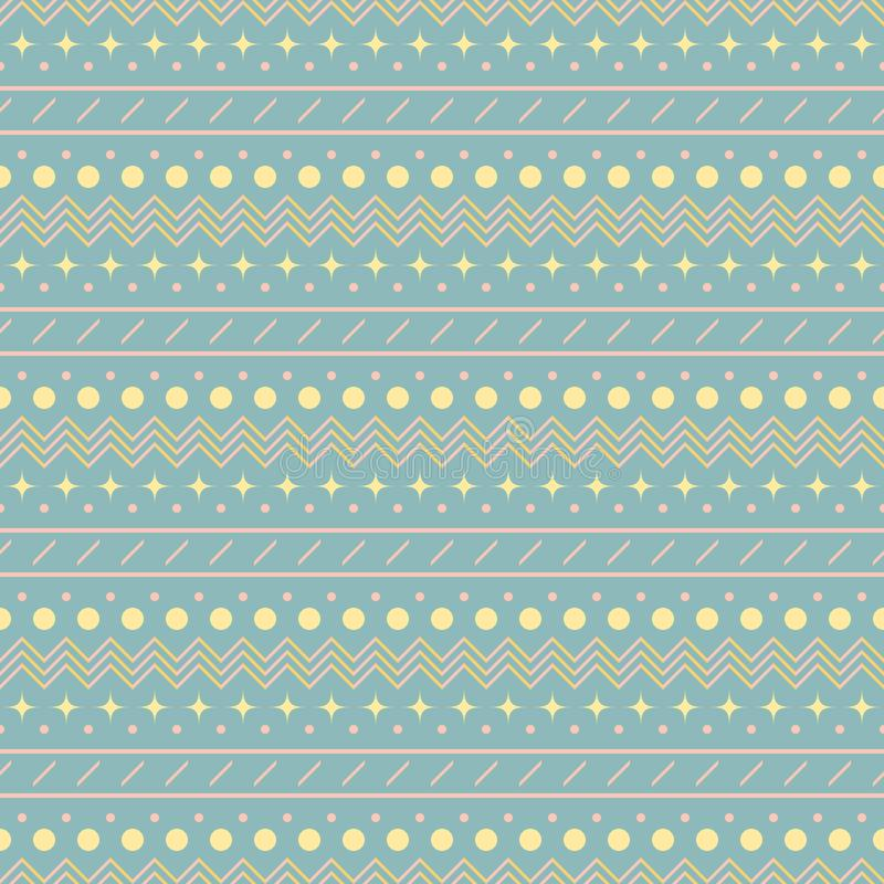Seamless simple print with horizontal zigzag and patterned strip. Seamless abstract geometric pattern in pastel colors. Cute uncomplicated vector print with stock illustration