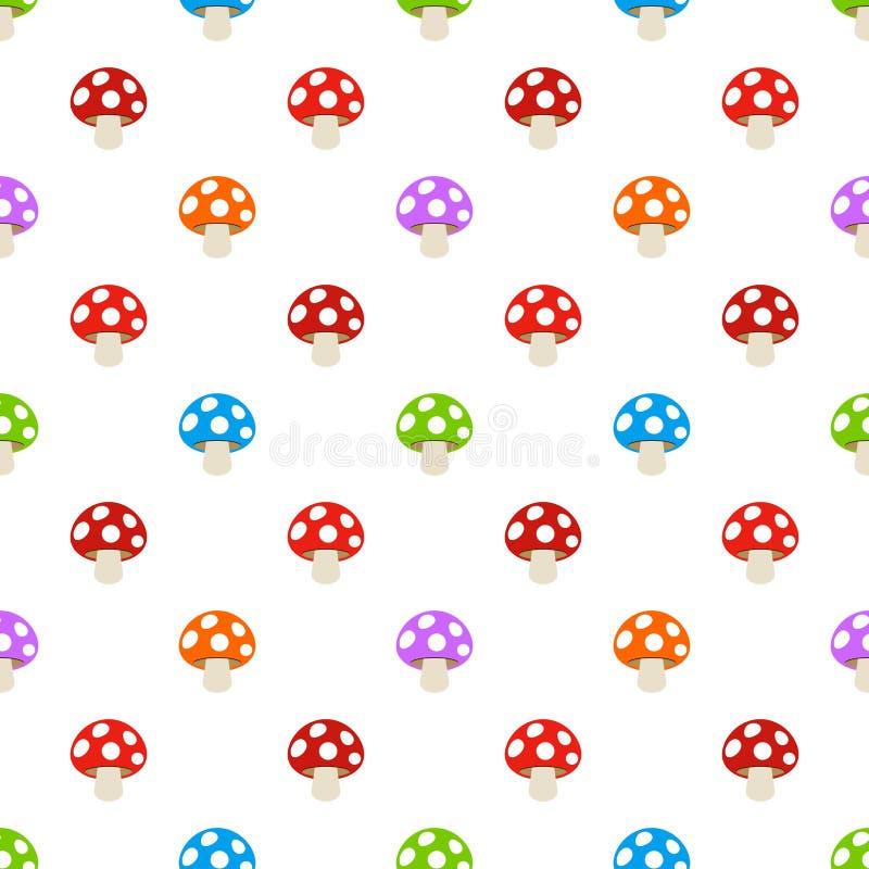 Seamless Simple random coloured Amanita Fly Agaric Mushroom pattern as vector.  royalty free illustration