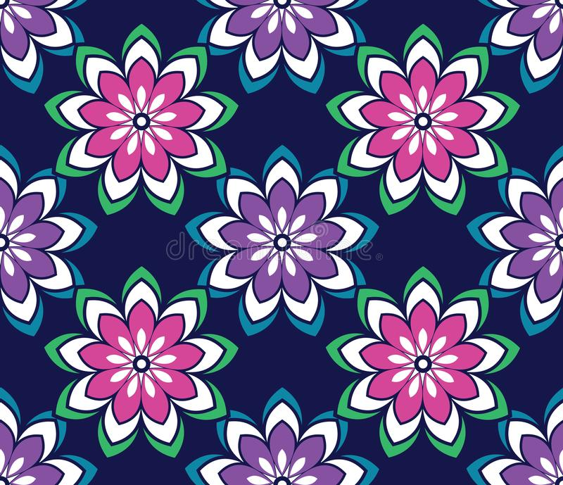 Seamless simple vector floral pattern on blue background vector illustration