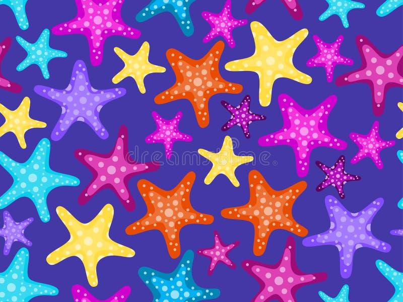Seamless sjöstjärnor mönstrar E vektor royaltyfri illustrationer