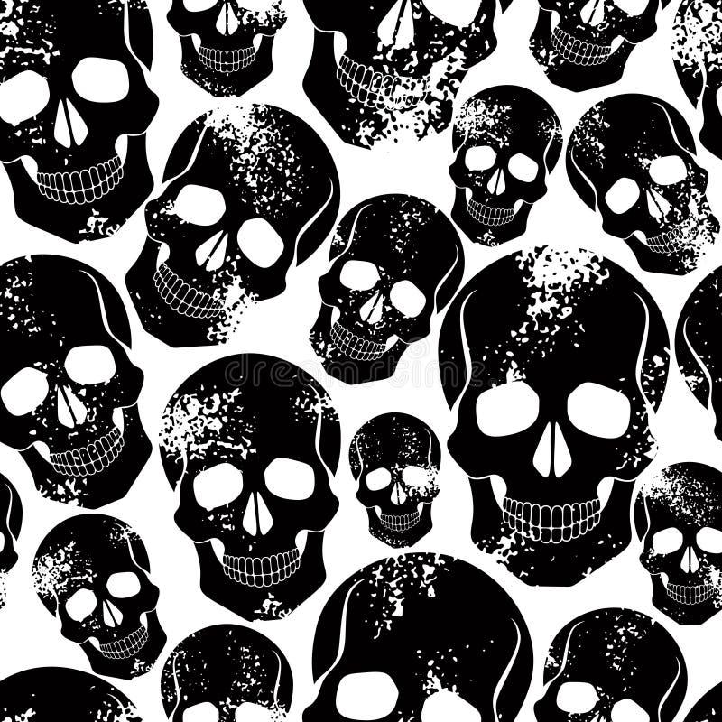 seamless skallar för svart modell royaltyfri illustrationer