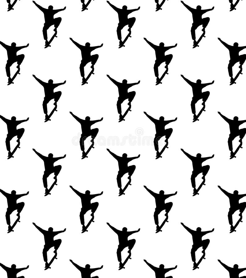 Seamless skateboarding pattern with black silhouettes of skateboarders stock illustration