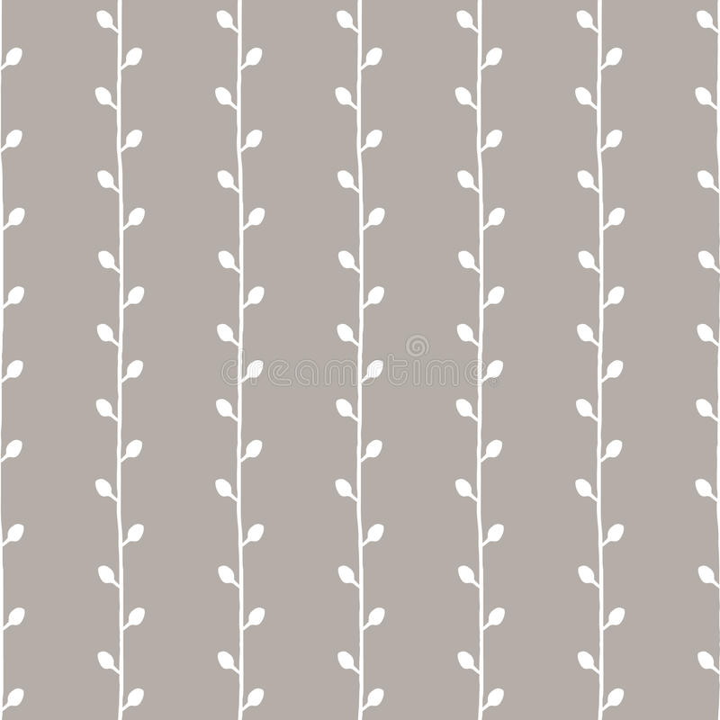 Seamless sketch vector pattern. White twigs on grey background. Hand drawn abstract texture illustration. Seamless sketch vector pattern. Twigs on grey stock illustration