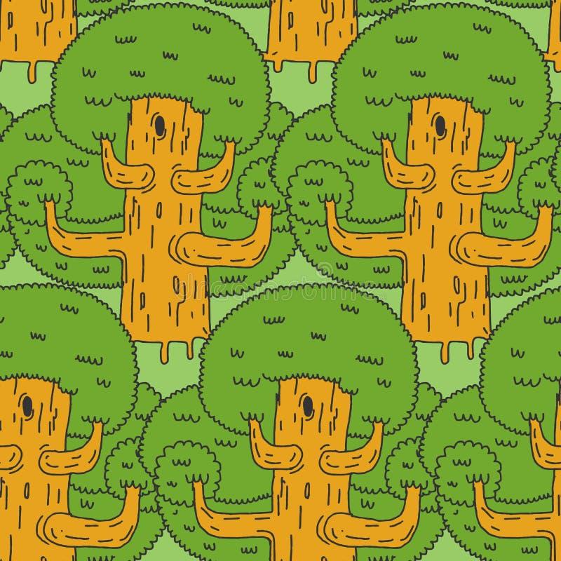 seamless skogmodell Stora prydnadträd Mer tjock textur stock illustrationer