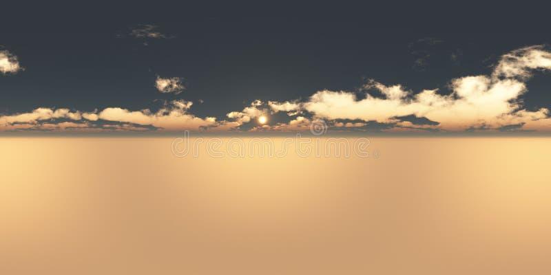Seamless 360 Sky Panorama Sunset stock images