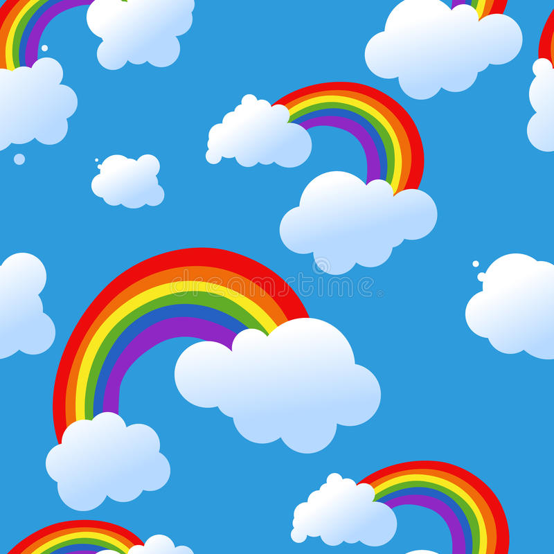 Seamless sky with rainbow vector illustration