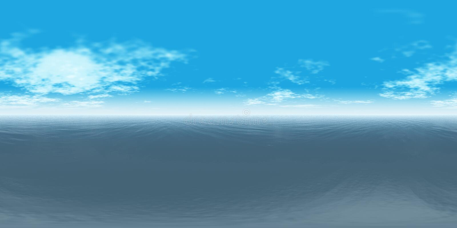 Seamless 360 Sky And Sea Panorama Daytime royalty free illustration