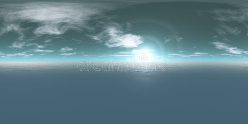 Seamless 360 Sky And Sea Panorama Daytime stock photos