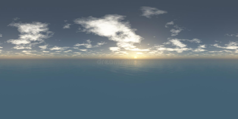 Seamless 360 Sky And Sea Panorama Sunset stock photo