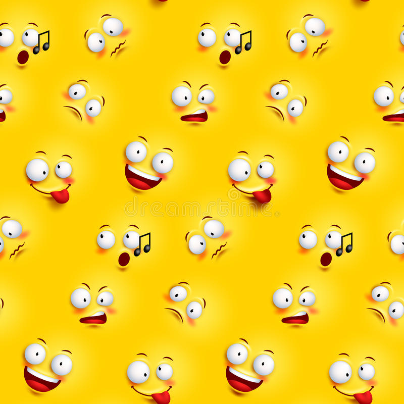Seamless smiley face pattern with funny facial expressions stock illustration