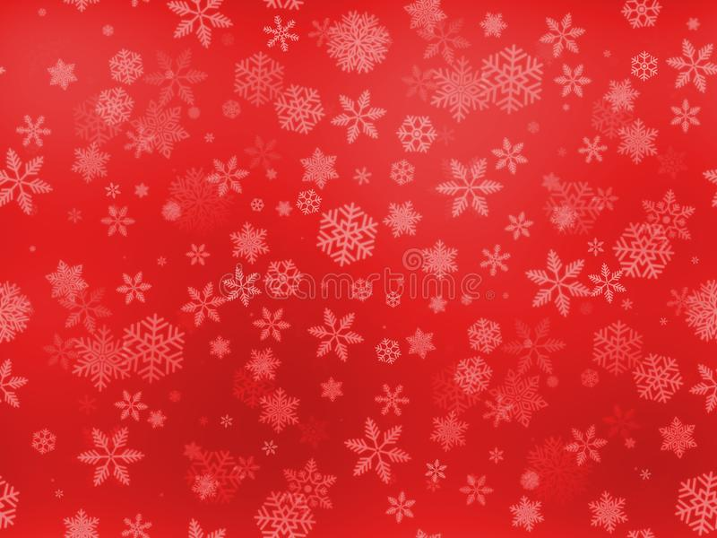 Seamless snow flakes pattern various big and small size on red gradient background. royalty free stock images