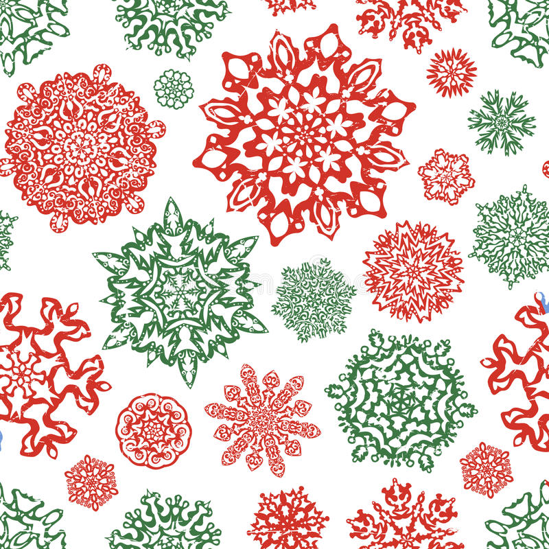 Free Seamless Snowflake Pattern In Traditional Christmas Colors. Stock Photos - 46376383
