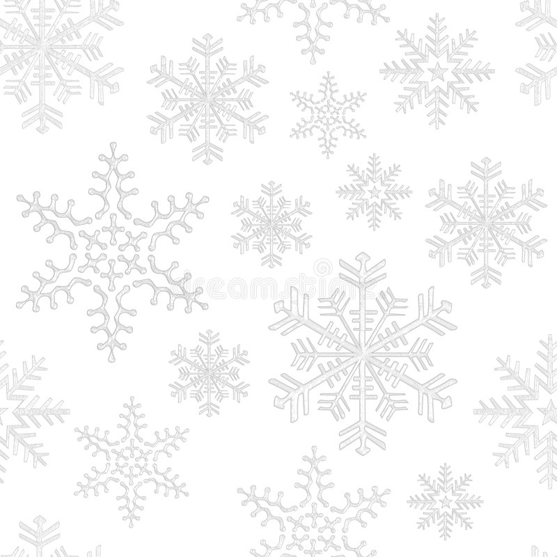 Seamless snowflake tile. Various light gray snowflakes on white background, seamless tile vector illustration