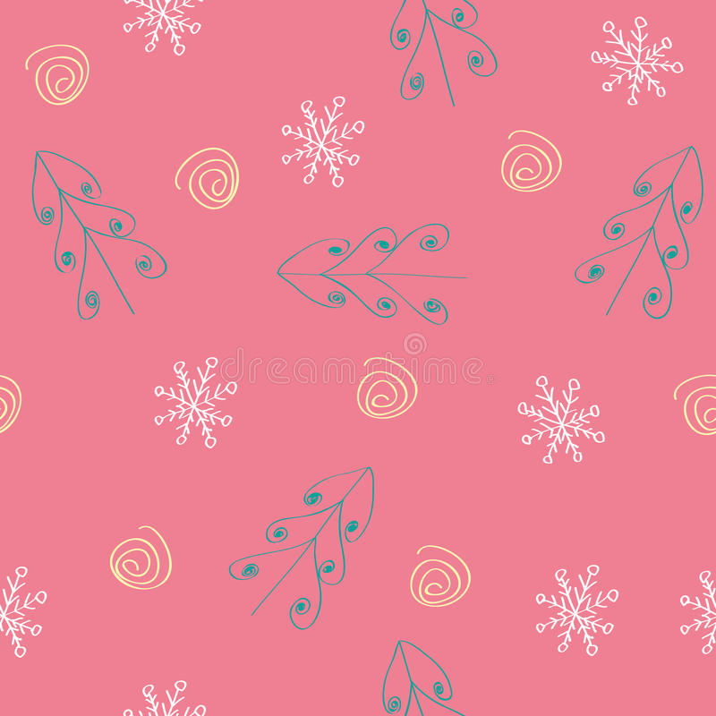 Seamless snowflake and tree pattern red background