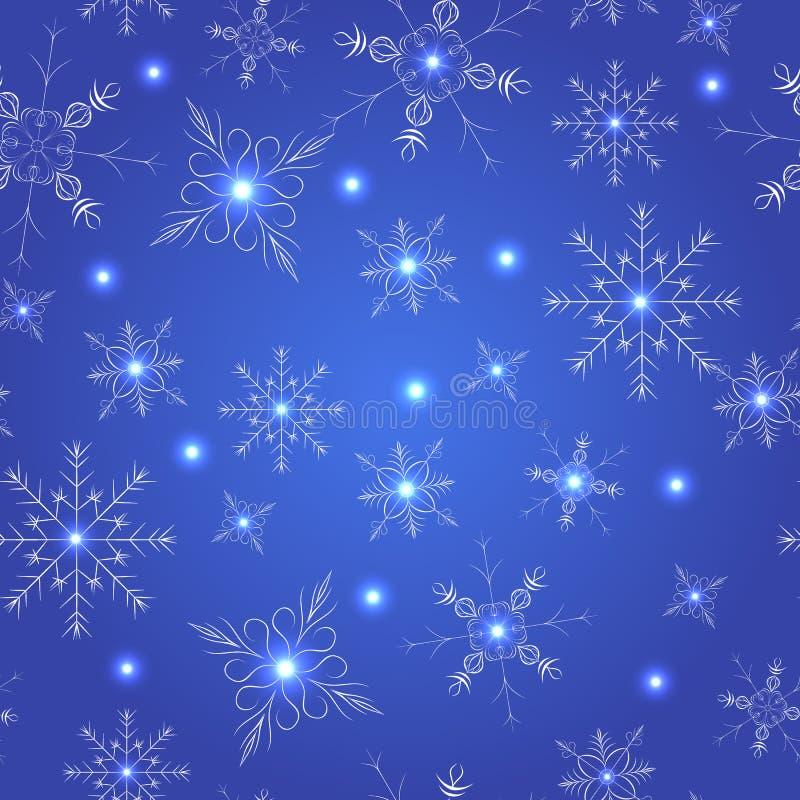 seamless snowflakes för blå modell royaltyfri illustrationer