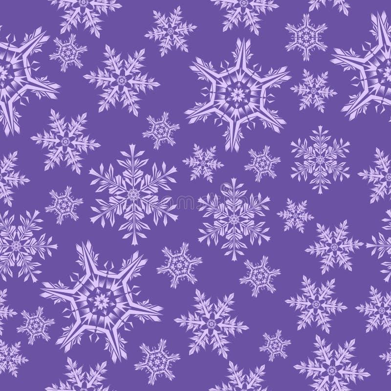 seamless snowflakes för modell Lila bakgrund stock illustrationer