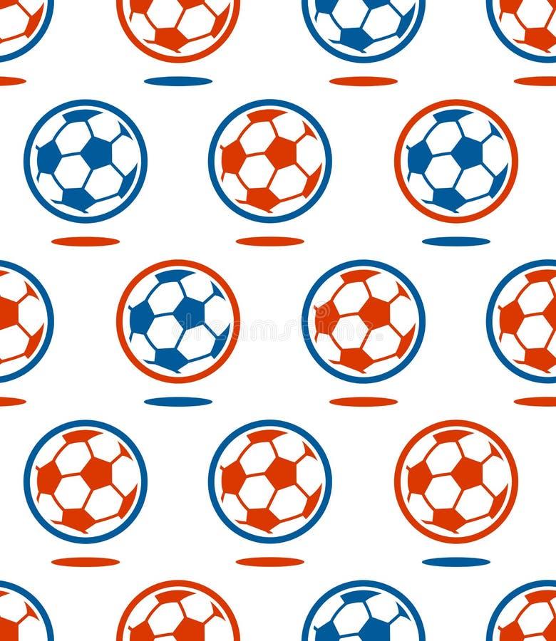 Seamless soccer ball pattern over white vector illustration