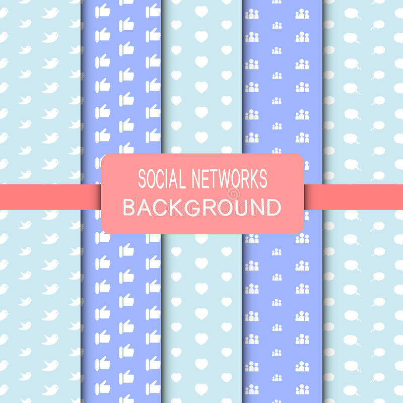 Seamless Social Network. Background in blue color vector illustration