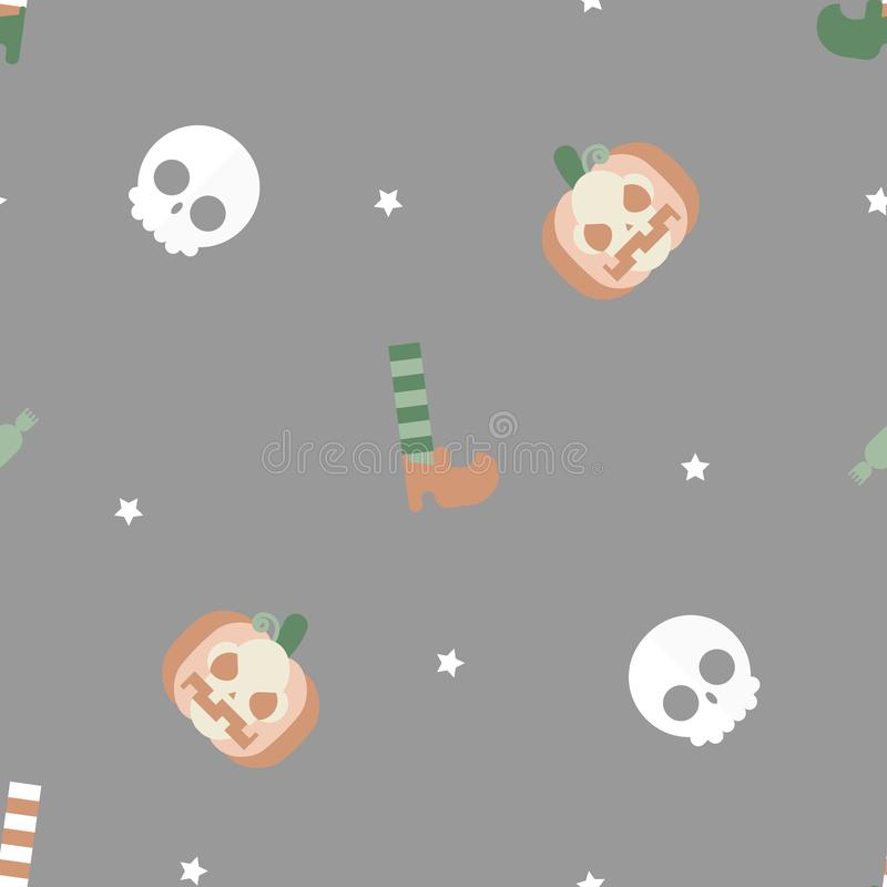 seamless soft pastel happy halloween holiday festival with pumpkin, sock and shoes, candy and skull repeat pattern background royalty free illustration