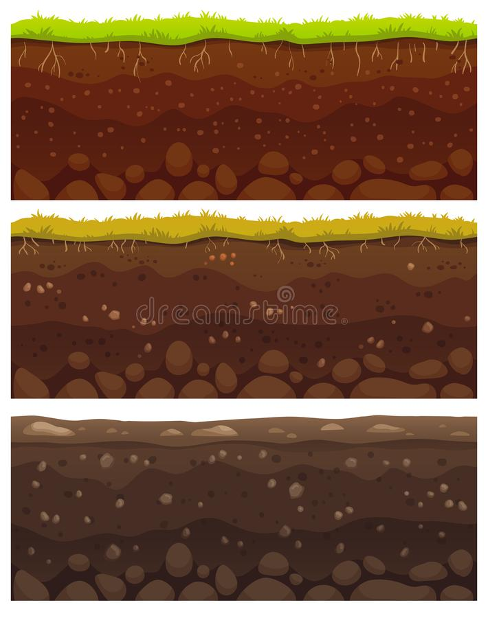 Seamless soil layers. Layered dirt clay, ground layer with stones and grass on dirts cliff texture vector pattern royalty free illustration