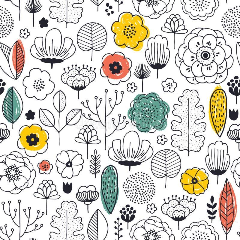 seamless sommar för blommamodell Linjärt diagram Blom- bakgrund Skandinavisk stil också vektor för coreldrawillustration stock illustrationer