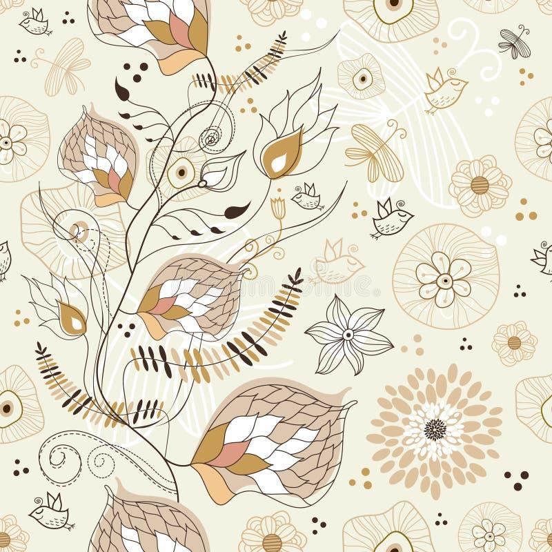 seamless sommar för brun blom- modell royaltyfri illustrationer