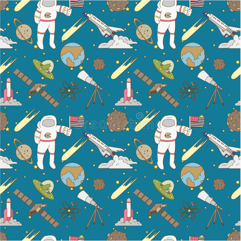 Seamless Space Pattern Royalty Free Stock Images