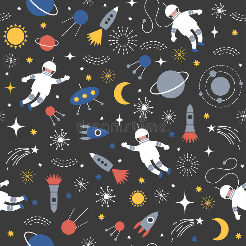 Seamless space pattern royalty free illustration
