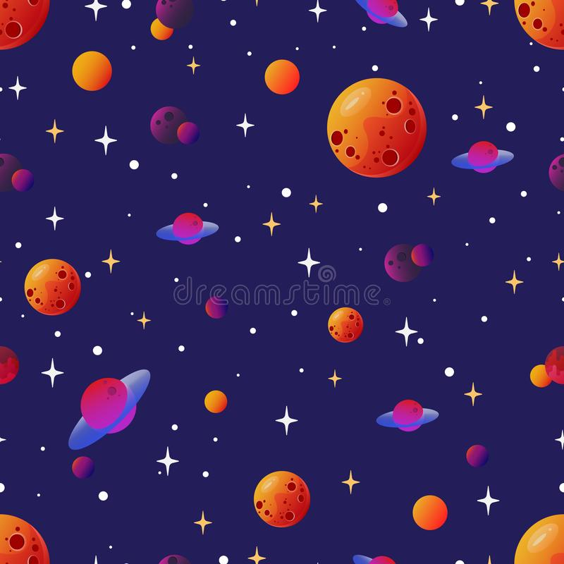 Seamless space pattern with differet planets and stars stock illustration