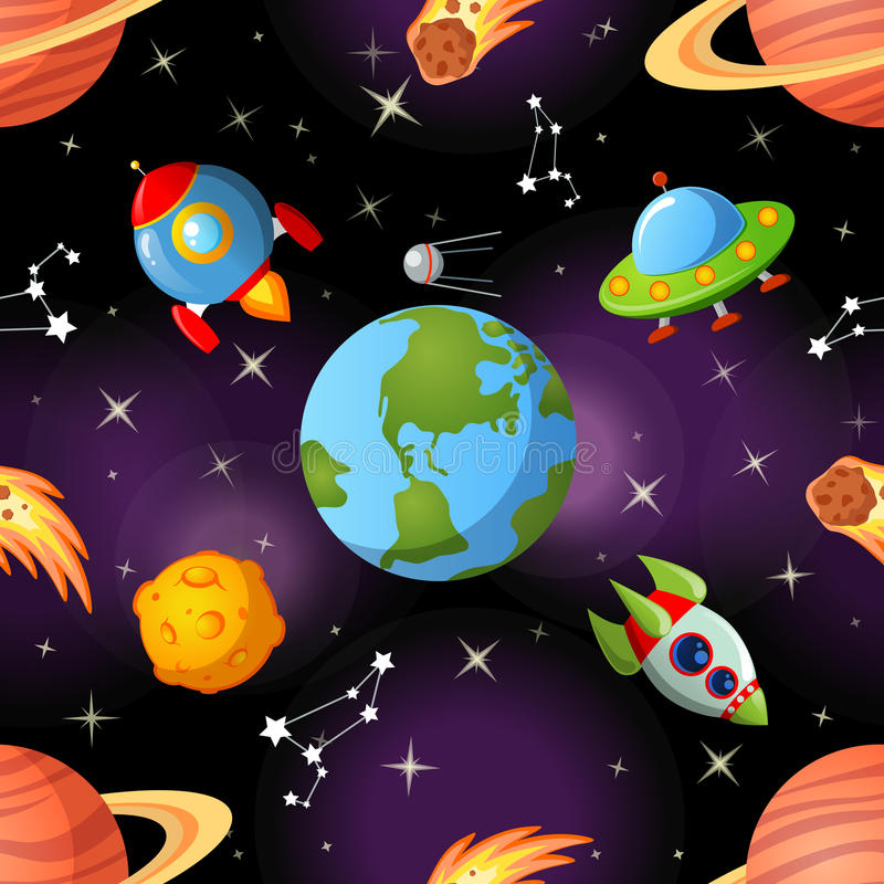 Seamless space pattern with Earth, saturn, UFO, rockets moon and stars stock illustration