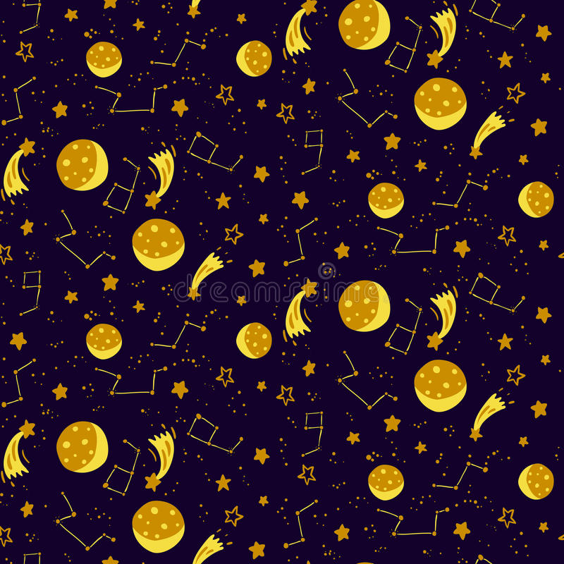 Seamless space pattern with moons, stars and constellations. Vector illustration stock illustration