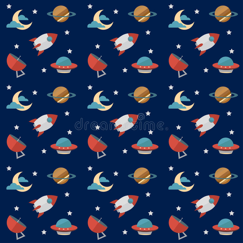 Seamless space pattern with rockets, planets, stars, scopes,moon, observatory and others equipments. Seamless space vector pattern with rockets, planets, stars stock illustration