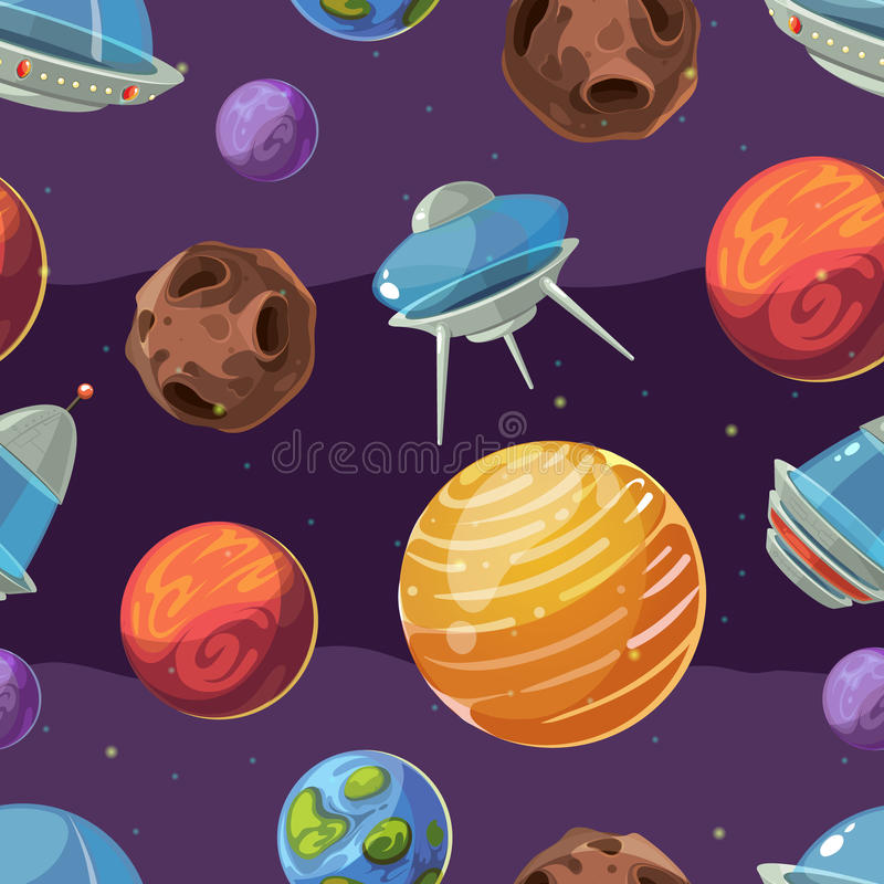 Seamless space vector kids pattern with planets and spaceships vector illustration