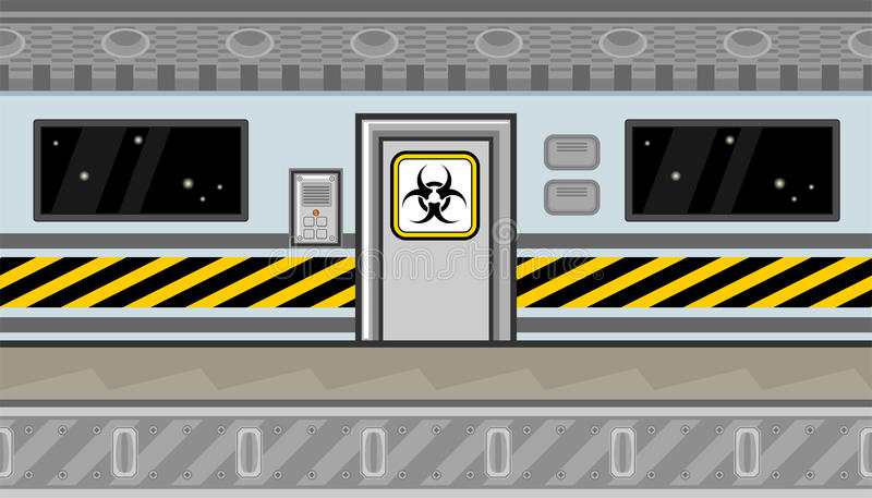Seamless spaceship interior with door and warning line for game design vector illustration