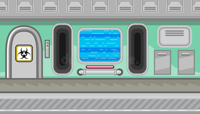 Seamless spaceship interior of green corridor for game design vector illustration