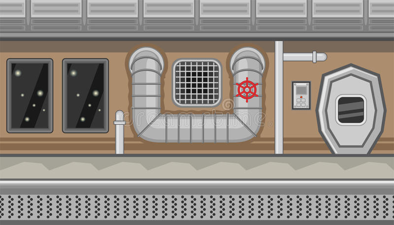 Seamless spaceship interior with pipe and manhole for game design vector illustration
