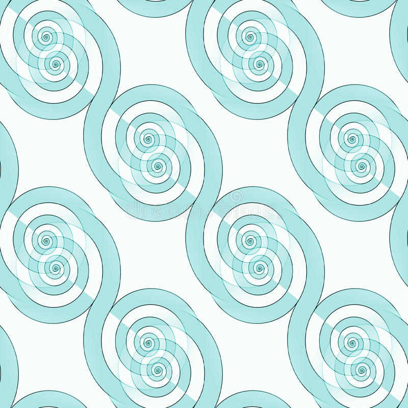 Seamless spiral pattern diagonal turquoise white royalty free stock photography