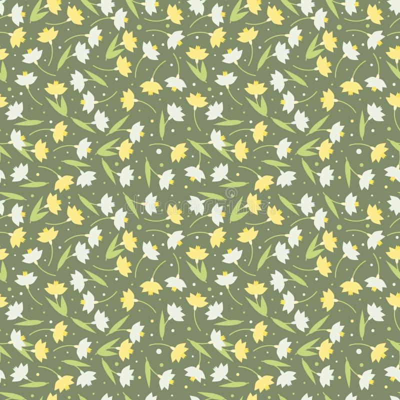 Seamless spring flower pattern vector royalty free illustration