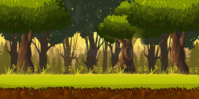 Seamless spring forest landscape, never ending vector nature background with separated layers for game design. 2d game application. Vector Illustration for vector illustration
