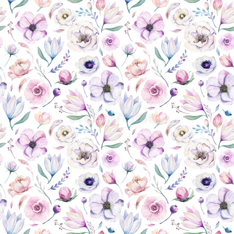 Free Seamless Spring Lilic Watercolor Floral Pattern On A White Background. Pink And Rose Flowers, Weddind Decoration Royalty Free Stock Image - 118764946