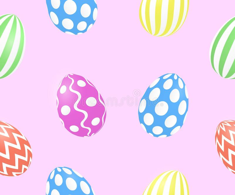 Seamless spring pattern with cute easter eggs pink background. Vector royalty free illustration