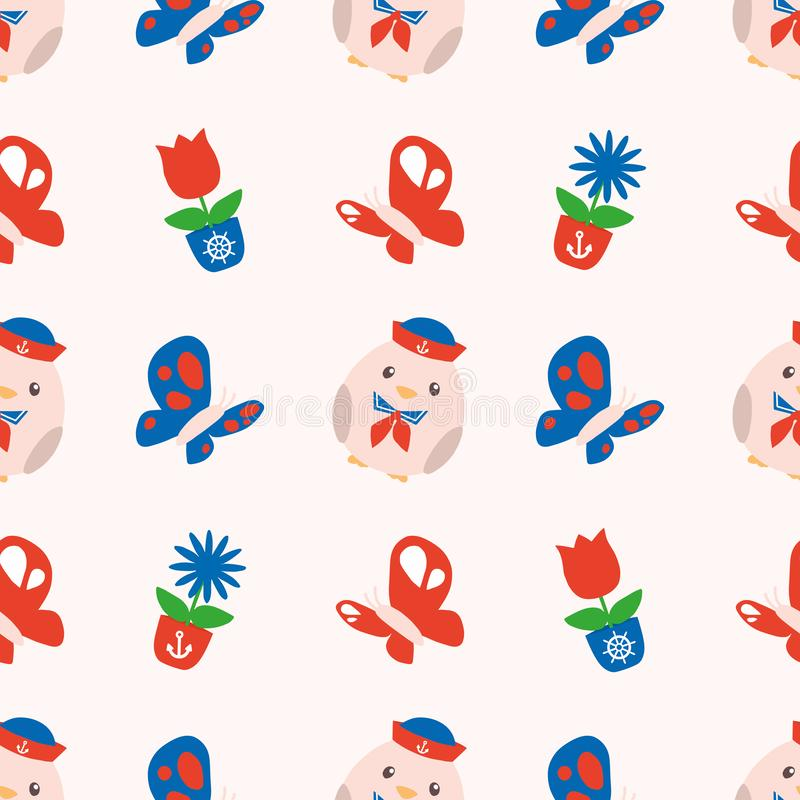 Seamless spring pattern with cute red and blue maritime chubby chicks, butterflies and spring flowers on white background. Drawing vector illustration