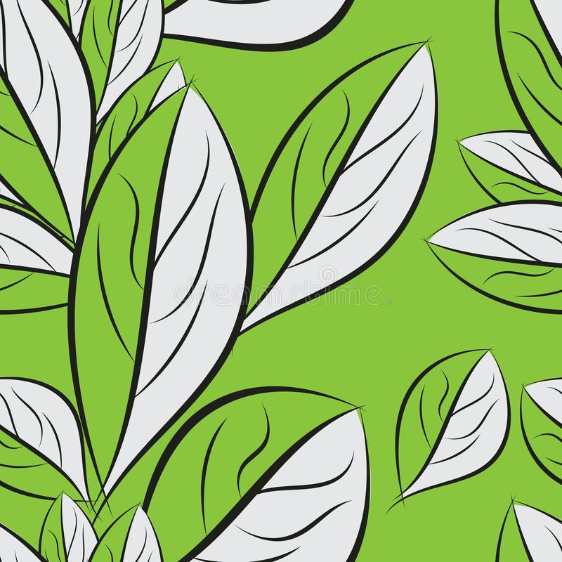Seamless spring pattern, leaf texture vector Background. Hand drawn vector illustration