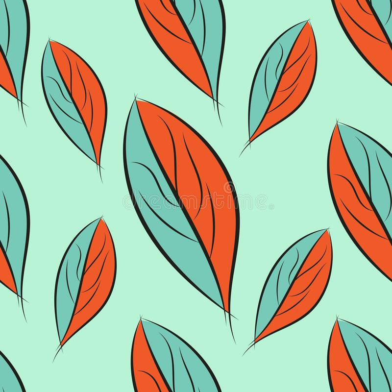 Seamless spring pattern, leaf texture vector Background. Hand drawn stock illustration