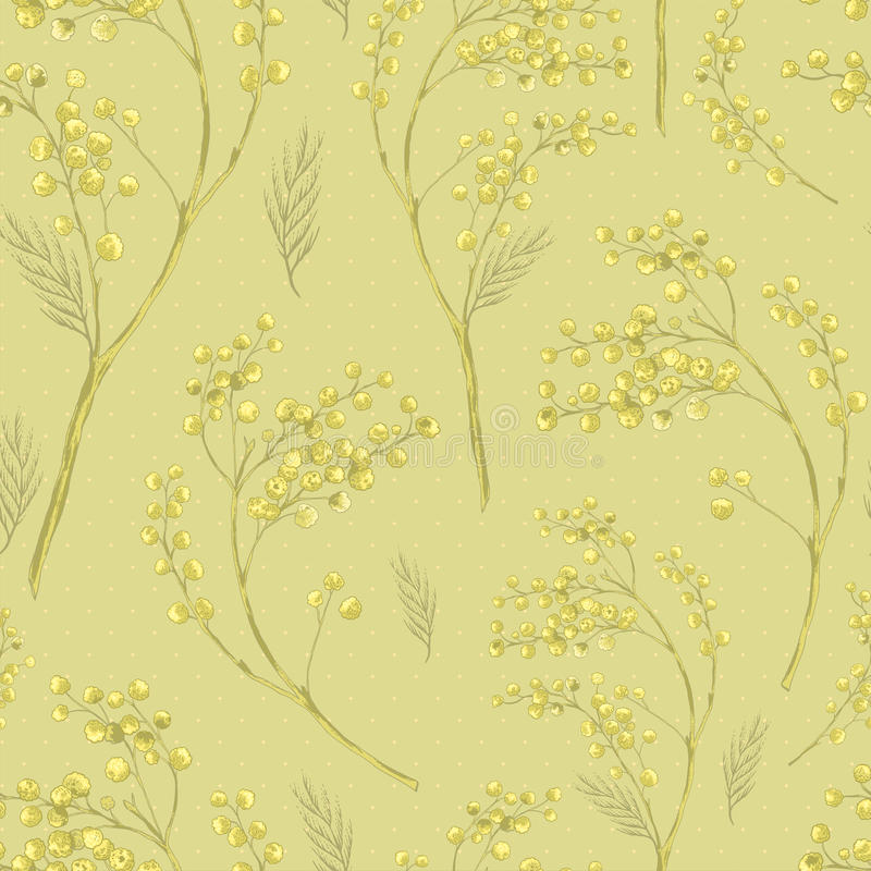 Seamless Spring Pattern with Sprig of Mimosa. vector illustration