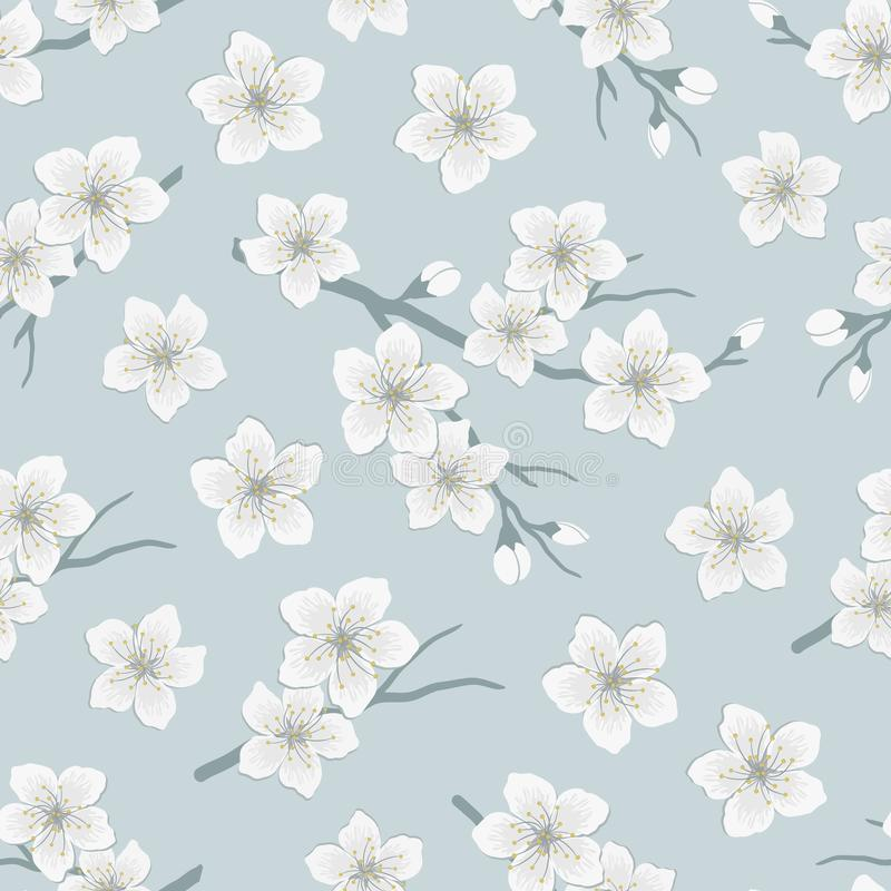 Free Seamless Spring Pattern With Blossoming Branches Of Cherry. A Tree Branch With White Flowers And Buds On A Gray Background Stock Photo - 164646560