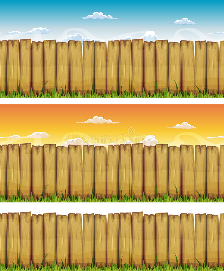 Seamless Spring Or Summer Wood Fence royalty free illustration