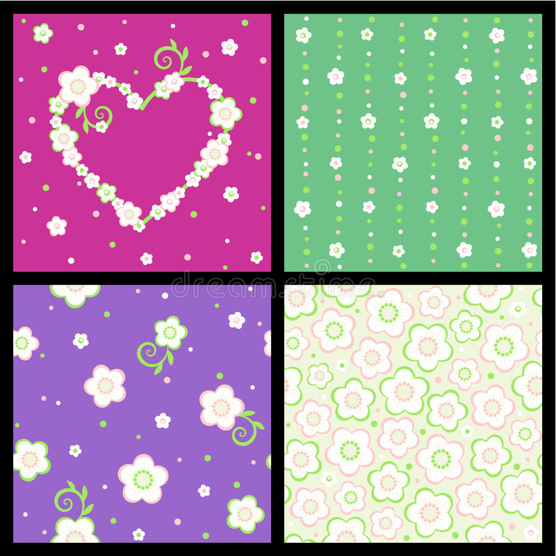 Download Seamless Spring And Valentine Floral Patterns Stock Vector - Illustration: 22388785