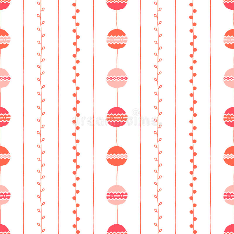 Seamless spring vector pattern. Red pink vertical lines, circles and twigs on white background. Hand drawn abstract branch illustr. Seamless spring vector vector illustration